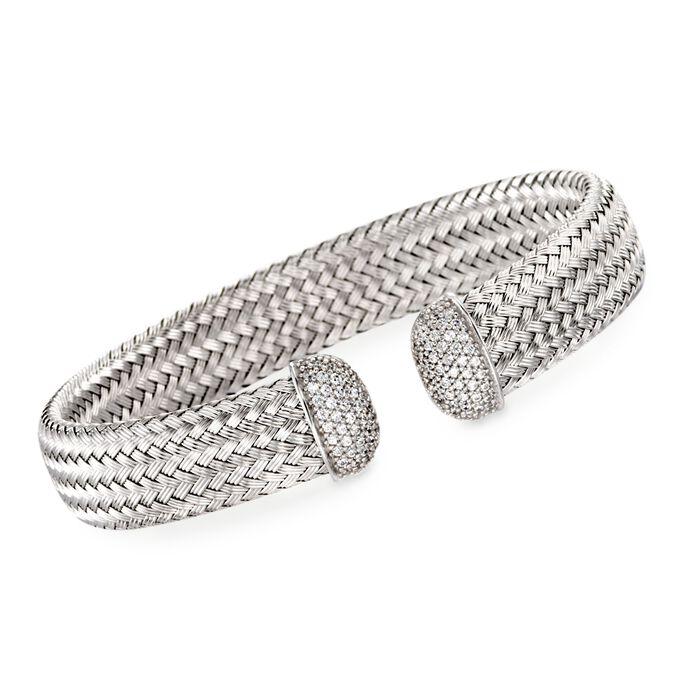 """Charles Garnier """"Bellini"""" Italian 1.00 ct. t.w. CZ Cuff Bracelet in Sterling Silver. 7"""", , default"""