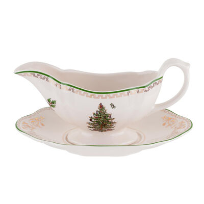 "Spode ""Christmas Tree Gold"" Sauce Boat and Stand"