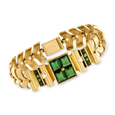C. 1940 Vintage 14.20 ct. t.w. Green Tourmaline Link Bracelet in 14kt Yellow Gold