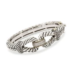 "Andrea Candela 18kt Gold and Textured Sterling .12 ct. t.w. Diamond Bangle Bracelet. 7.25"", , default"