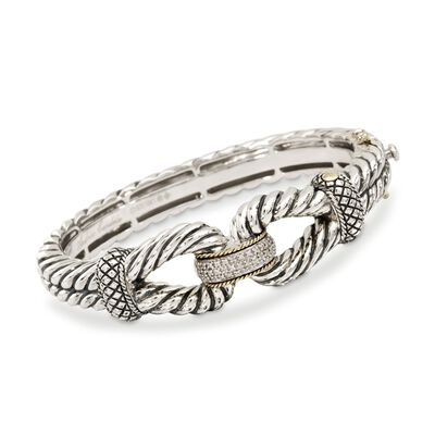 Andrea Candela 18kt Gold and Textured Sterling .12 ct. t.w. Diamond Bangle Bracelet, , default