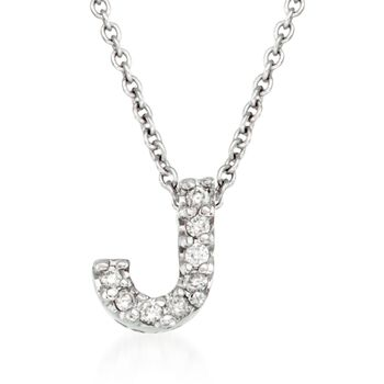 "Roberto Coin ""Tiny Treasures"" Diamond Accent Initial ""J"" Necklace in 18kt White Gold. 16"", , default"