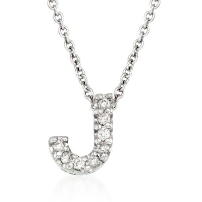 "Roberto Coin ""Tiny Treasures"" Diamond Accent Initial ""J"" Necklace in 18kt White Gold, , default"