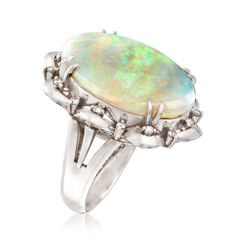 C. 1960 Vintage Opal Cabochon and .27 ct. t.w. Diamond Scallop Ring in Platinum. Size 6, , default