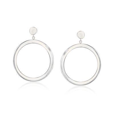 Sterling Silver Open Circle Drop Earrings, , default
