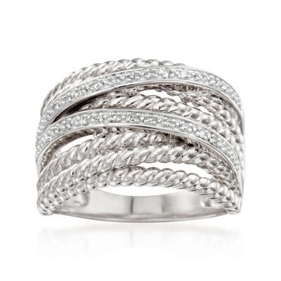 .10 ct. t.w. Diamond Twisted Highway Ring in Sterling Silver