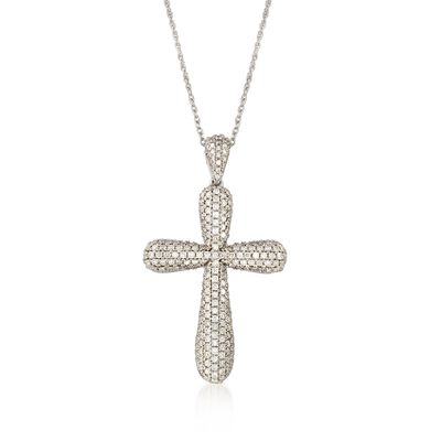 2.00 ct. t.w. Pave Diamond Rounded Cross Pendant Necklace in 14kt White Gold, , default