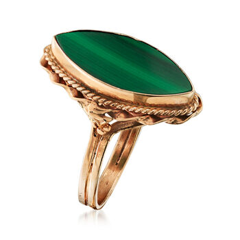 C. 1960 Vintage 18.5x8mm Malachite Ring in 14kt Yellow Gold. Size 6.25, , default