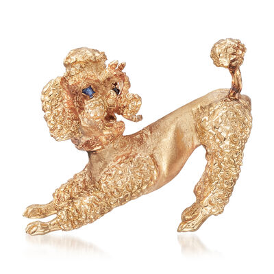C. 1970 Vintage 14kt Yellow Gold Poodle Pin with Sapphire Accents, , default