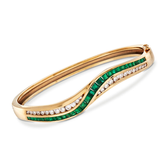 "C. 1980 Vintage 2.50 ct. t.w. Emerald and 1.00 ct. t.w. Diamond Bangle Bracelet in 14kt Yellow Gold. 7"", , default"