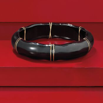 Black Agate Bamboo Bangle Bracelet with 14kt Yellow Gold, , default