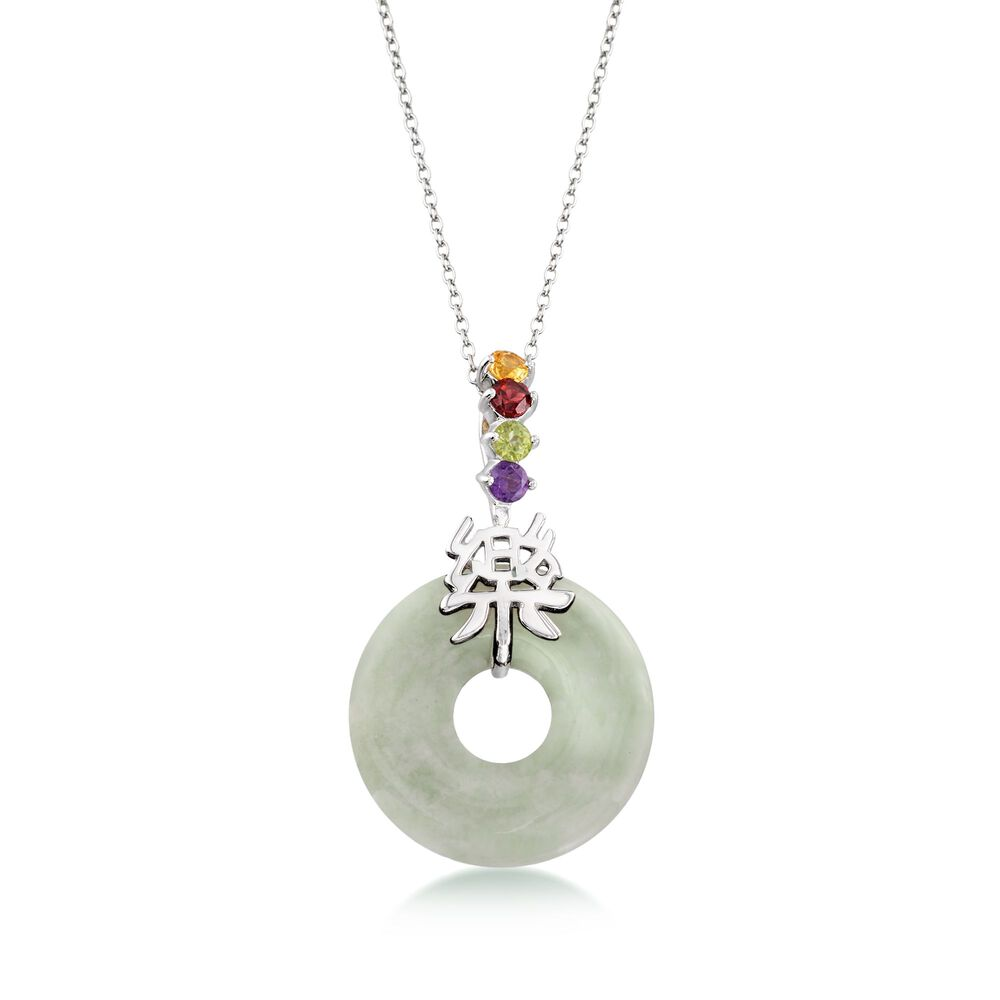 Green Jade And 36 Ct Tw Multi Stone Happy Chinese Symbol