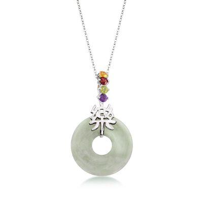 """Green Jade and .36 ct. t.w. Multi-Stone """"Happy"""" Chinese Symbol Pendant Necklace in Sterling Silver, , default"""