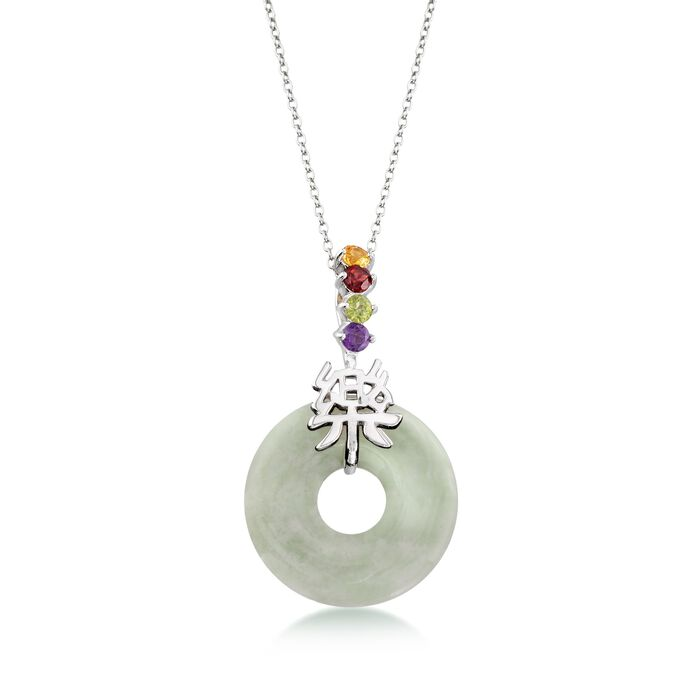 """Green Jade and .36 ct. t.w. Multi-Stone """"Happy"""" Chinese Symbol Pendant Necklace in Sterling Silver. 18"""", , default"""