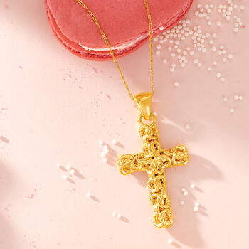 Italian Andiamo 14kt Yellow Gold Byzantine Cross Pendant, , default