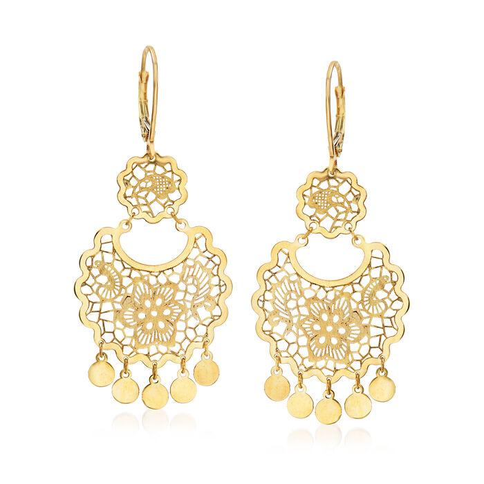 Italian 14kt Yellow Gold Filigree Drop Earrings