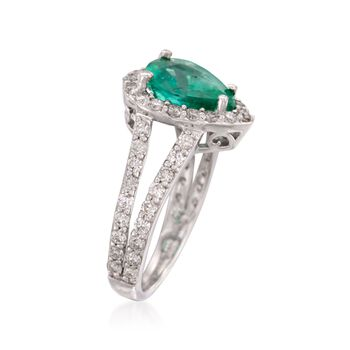 1.85 Carat Emerald and 1.00 ct. t.w. Diamond Ring in 14kt White Gold. Size 7, , default