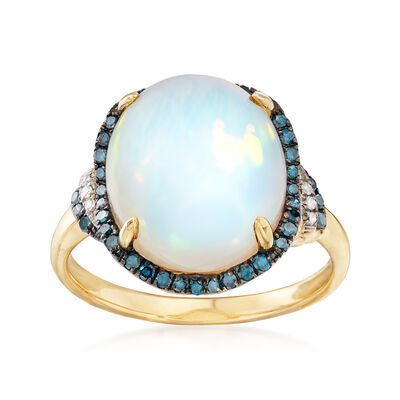 Ethiopian Opal and .29 ct. t.w. Diamond Ring in 14kt Yellow Gold