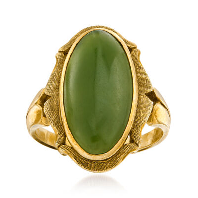 C. 1940 Vintage Green Jade Ring in 10kt Yellow Gold, , default