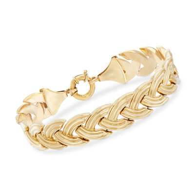 14kt Yellow Gold Braided-Link Bracelet, , default