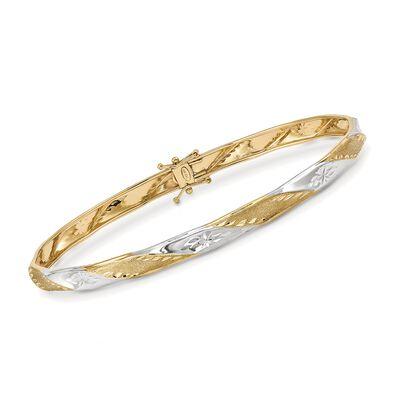 14kt Two-Tone Gold Diamond-Cut and Polished Twist Bangle Bracelet, , default