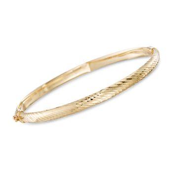 14kt Yellow Gold Diagonally Striped Bangle Bracelet, , default