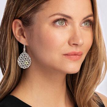 Italian Two-Tone Sterling Silver Floral Drop Earrings