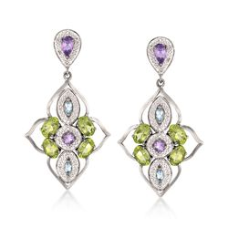 4.20 ct. t.w. Multi-Stone Drop Earrings in Sterling Silver , , default