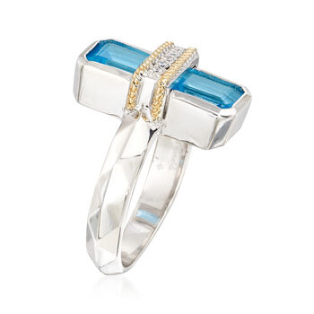 "Andrea Candela ""Ilusion"" 3.80 ct. t.w. Blue Topaz and Diamond Ring in 18kt Gold and Sterling. Size 7, , default"