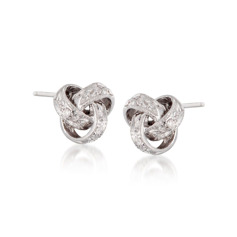 Diamond Accent Love Knot Earrings In 14kt White Gold Default