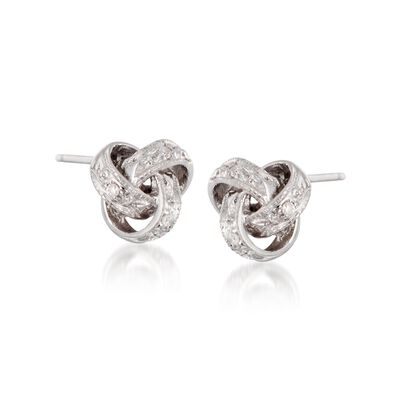 Diamond Accent Love Knot Earrings in 14kt White Gold, , default