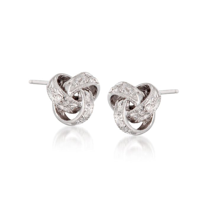 Diamond Accent Love Knot Earrings in 14kt White Gold , , default
