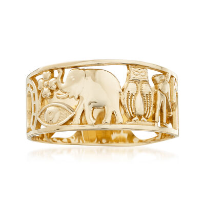 14kt Yellow Gold Good Luck Ring, , default