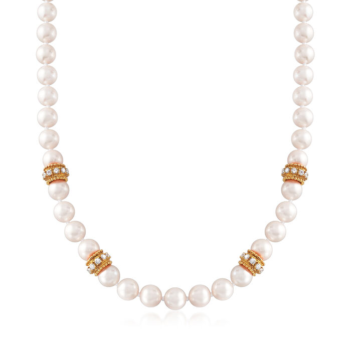 """C. 1990 Vintage Cultured Pearl and 2.80 ct. t.w. Diamond Necklace with 14kt Yellow Gold. 19"""", , default"""