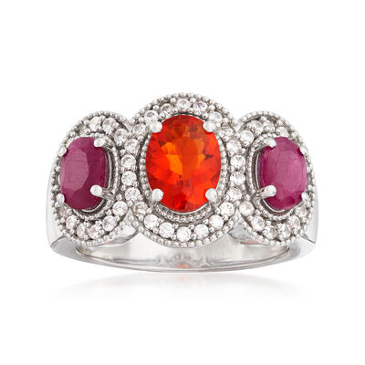 Orange Opal, 1.10 ct. t.w. Ruby and .40 ct. t.w. White Topaz Ring in Sterling Silver, , default