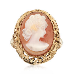 C. 1970 Vintage Pink Shell Cameo Ring in 10kt Yellow Gold, , default