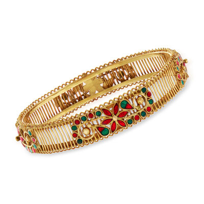 C. 1980 Vintage Red and Green Enamel Floral Bangle Bracelet in 20kt Yellow Gold