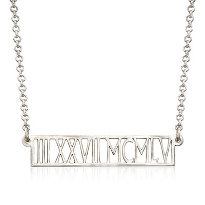 Sterling Silver Personalized Horizontal Roman Numeral Necklace, , default