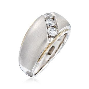 Men's .75 ct. t.w. Channel-Set Diamond Ring in 14kt White Gold, , default