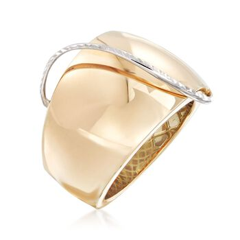 Italian 14kt Yellow Gold Dome Ring with 14kt White Gold. Size 5, , default