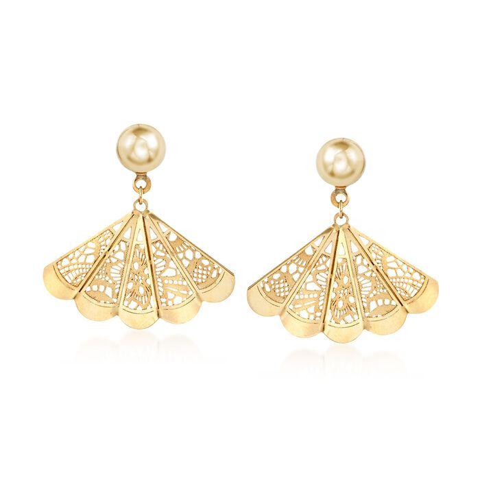 Italian 18kt Yellow Gold Filigree Fan Earrings , , default