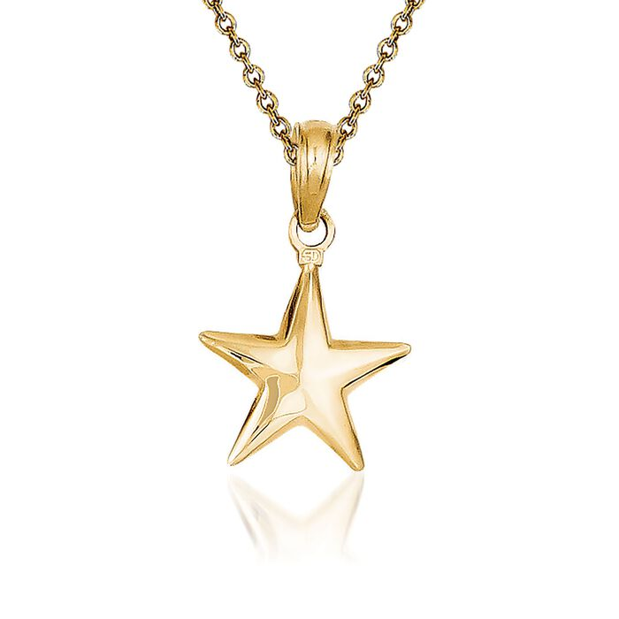 """14kt Yellow Gold Star Pendant Necklace. 18"""""""