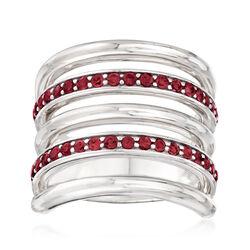 Italian 1.00 ct. t.w. Garnet Multi-Row Ring in Sterling Silver, , default