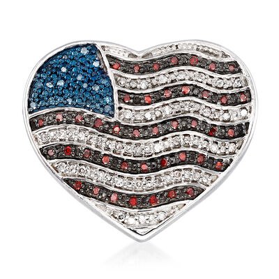 .32 ct. t.w. Red, White and Blue Diamond American Flag Heart Pin in Sterling Silver, , default