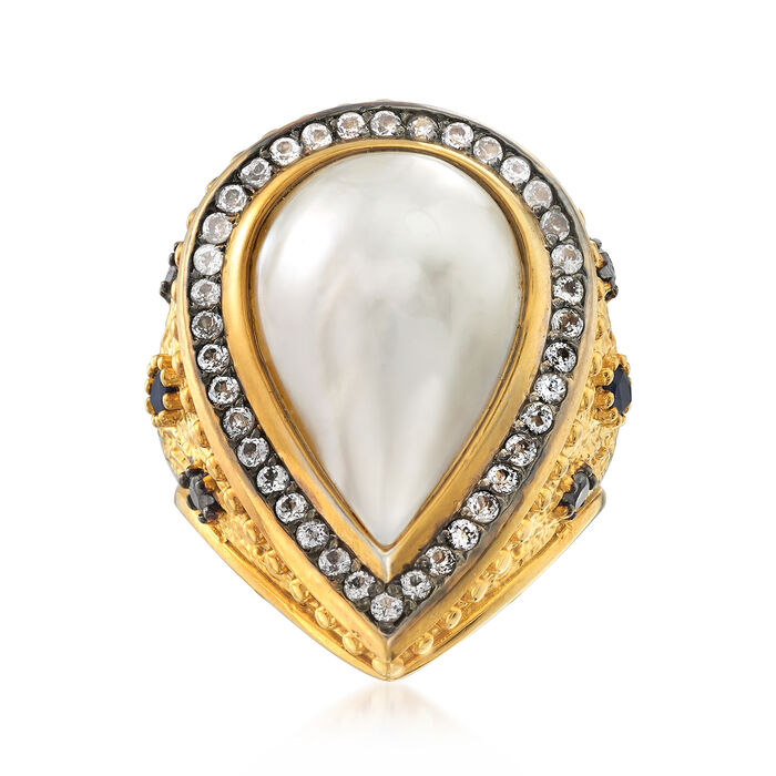 Cultured Pearl and 1.10 ct. t.w. Multi-Gem in Two-Tone Sterling Silver, , default