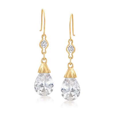 6.20 ct. t.w. CZ Drop Earrings in 14kt Yellow Gold, , default