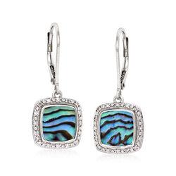 Abalone Shell and .13 ct. t.w. Diamond Drop Earrings in Sterling Silver, , default