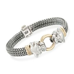 "Sterling Silver and Bonded Gold Woven Panther Bracelet. 7.25"", , default"