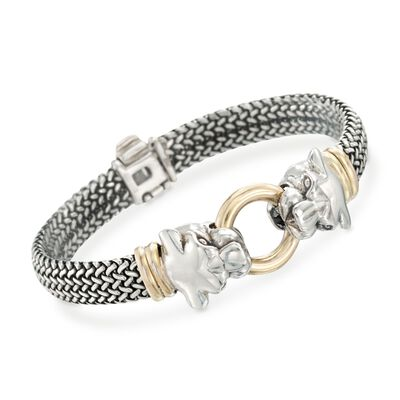 Sterling Silver and Bonded Gold Woven Panther Bracelet, , default