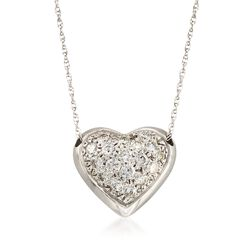 "C. 1990 Vintage 1.25 ct. t.w. Pave Diamond Heart Necklace in 14kt White Gold. 16"", , default"